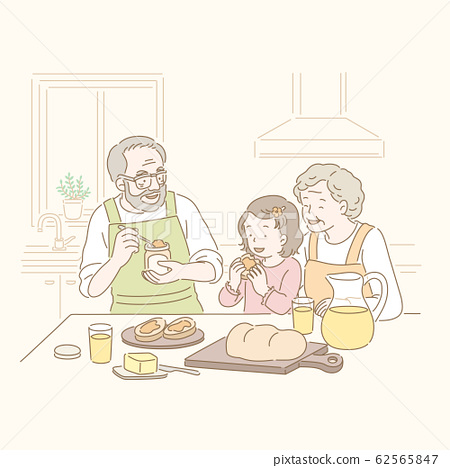 Line style family eating bread 62565847