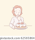 Cute girl looking at birthday cake 62565864