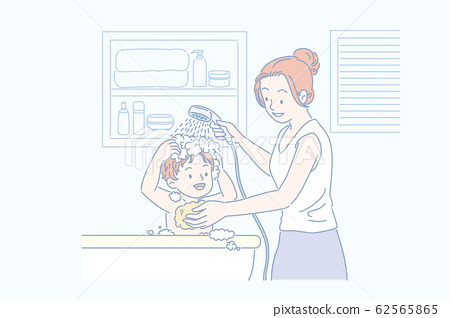 Mom washing her son's hair 62565865