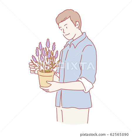 Man holding lavender 62565890