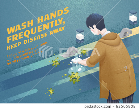 Man washing hands frequently 62565908