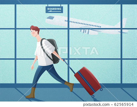 Boy dragging suitcase 62565914
