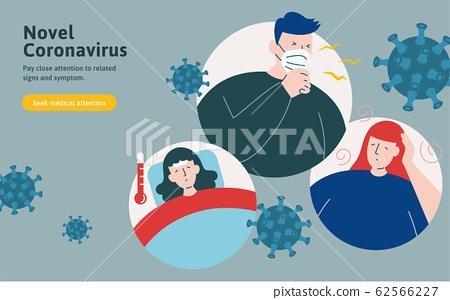 COVID-19 symptoms illustration 62566227