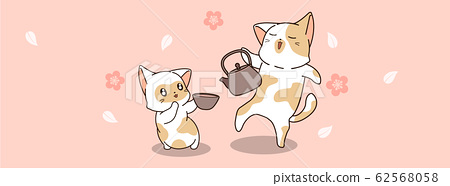 Cute cats are drinking tea time 62568058