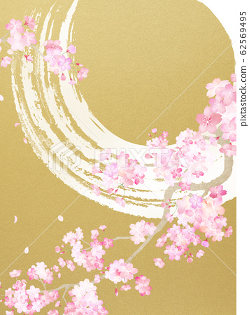 背景日本日式紙日本風格日式圖案春天櫻桃樹枝金葉畫筆圓 62569495