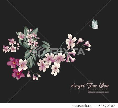 深底美麗的牡丹花朵,浪漫的小花材料 62570107