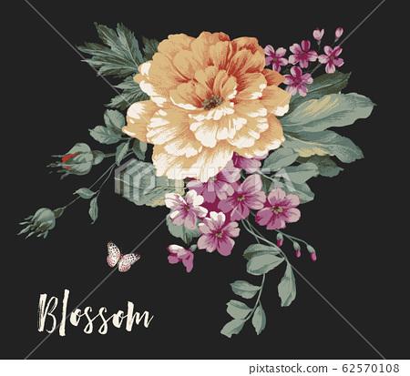 深底美麗的牡丹花朵,浪漫的小花材料 62570108