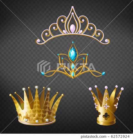 Crown, tiara, gold diadem for princess, queen set 62572924