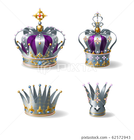 Silver royal crowns 3d realistic set 62572943