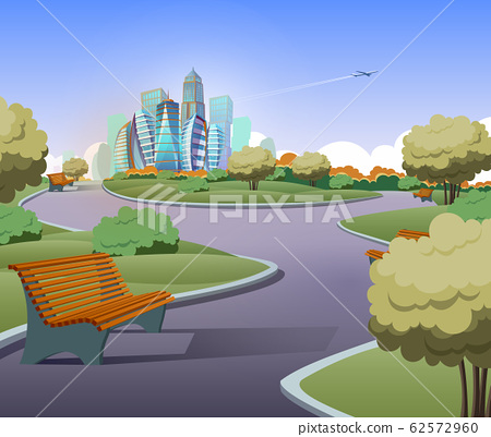 green parkland with trees in city 62572960