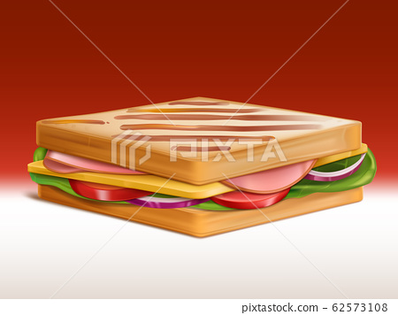Sandwich with meat, cheese and vegetables 62573108