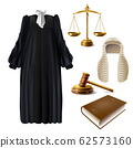 Judge formal dress and gavel realistic 62573160