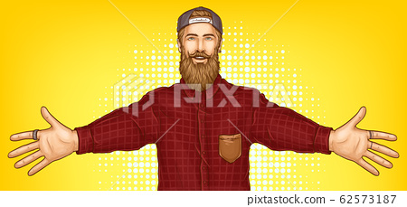 Hipster man raising hands for hugging 62573187