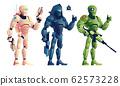 Fantasy cyborg armed warriors cartoon set 62573228