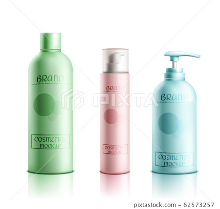 Cosmetics products packaging realistic set 62573257