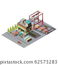 Warehouse with cargo cars 3d isometric 62573283