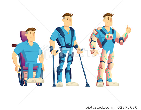 Exoskeletons for disabled people cartoon 62573650