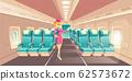 Stewardess in airplane cabin interior 62573672