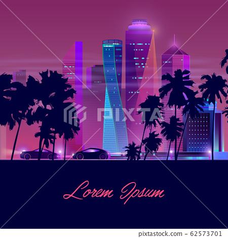 Metropolis nightlife neon cartoon banner 62573701