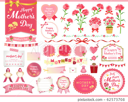 母親節框架康乃馨矢量插圖集 62573708