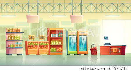 Supermarket trading room interior cartoon 62573715