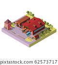 Bus depot building exterior isometric icon 62573717