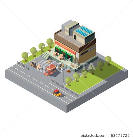 Postal company warehouse isometric icon 62573723
