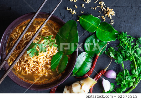 Tom Yum Noodles and Spicy Tom Yum Herbs 62575515