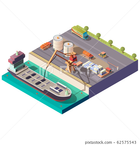 Tanker ship loading in port isometric 62575543