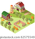 Farm farmyard with outbuildings isometric 62575549
