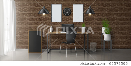 Modern home office workplace interior 62575596