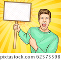 Screaming man with banner on stick 62575598