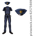 Police uniform and cap, policeman security costume 62575609