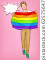 Pop art gay with lgbt rainbow flag, Homosexual man 62575647