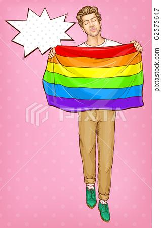 Pop art gay with lgbt rainbow flag, Homosexual man 62575647