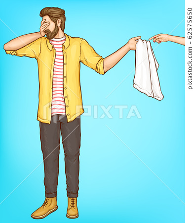 Shy man cover eyes with hand giving towel to woman 62575650