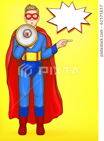 Superman boy with loudspeaker. Power kid wow face 62575657