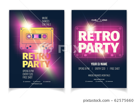 Retro music party cartoon flyer template 62575660