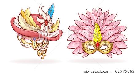 Luxurious Mardi Gras face masks cartoon 62575665