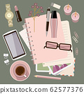 Personal diary on the table. Women's glamorous 62577376