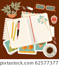 Workplace with a personal diary. Personal planning 62577377