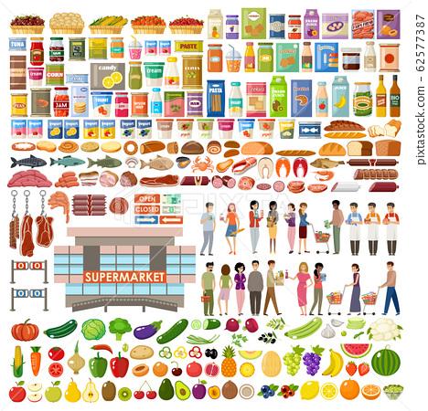 Supermarket. Big store set. Vegetables, fruits, 62577387