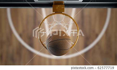 3d render Basketball ball flies into the basket top view 62577719