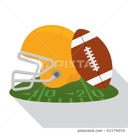 Helmet and american football ball 62579059