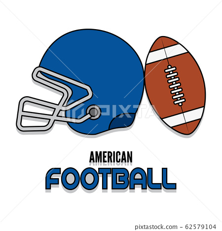Helmet and american football ball 62579104