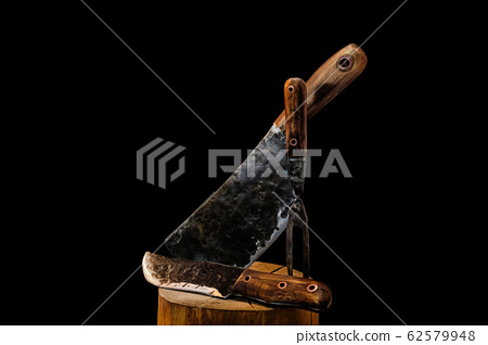 Rustic butcher meat knife, cleaver and fork 62579948