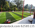 White stripe on the green soccer field from top 62585135
