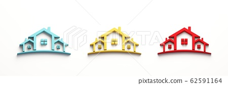 Red Blue Yellow Real Estate Houses Logo. 3D Rendering Illustration 62591164