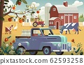 Eco Farming concept with house and farm animals. Vector illustration 62593258