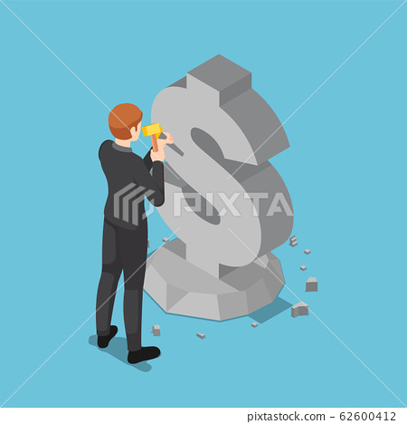 Isometric businessman carving dollar sign from 62600412